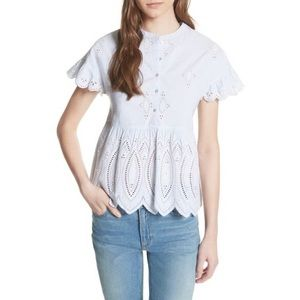 Joie Cerelia Scalloped Eyelet Top Size S Small